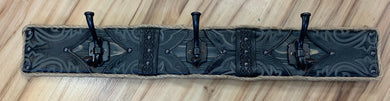 Local Artist L & J Re-Creations Black Leather Coat Rack