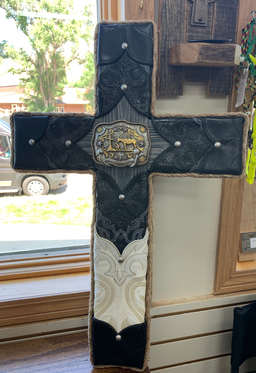 Local Artist L & J Re-Creations Large Black & White Cross with Praying Cowboy