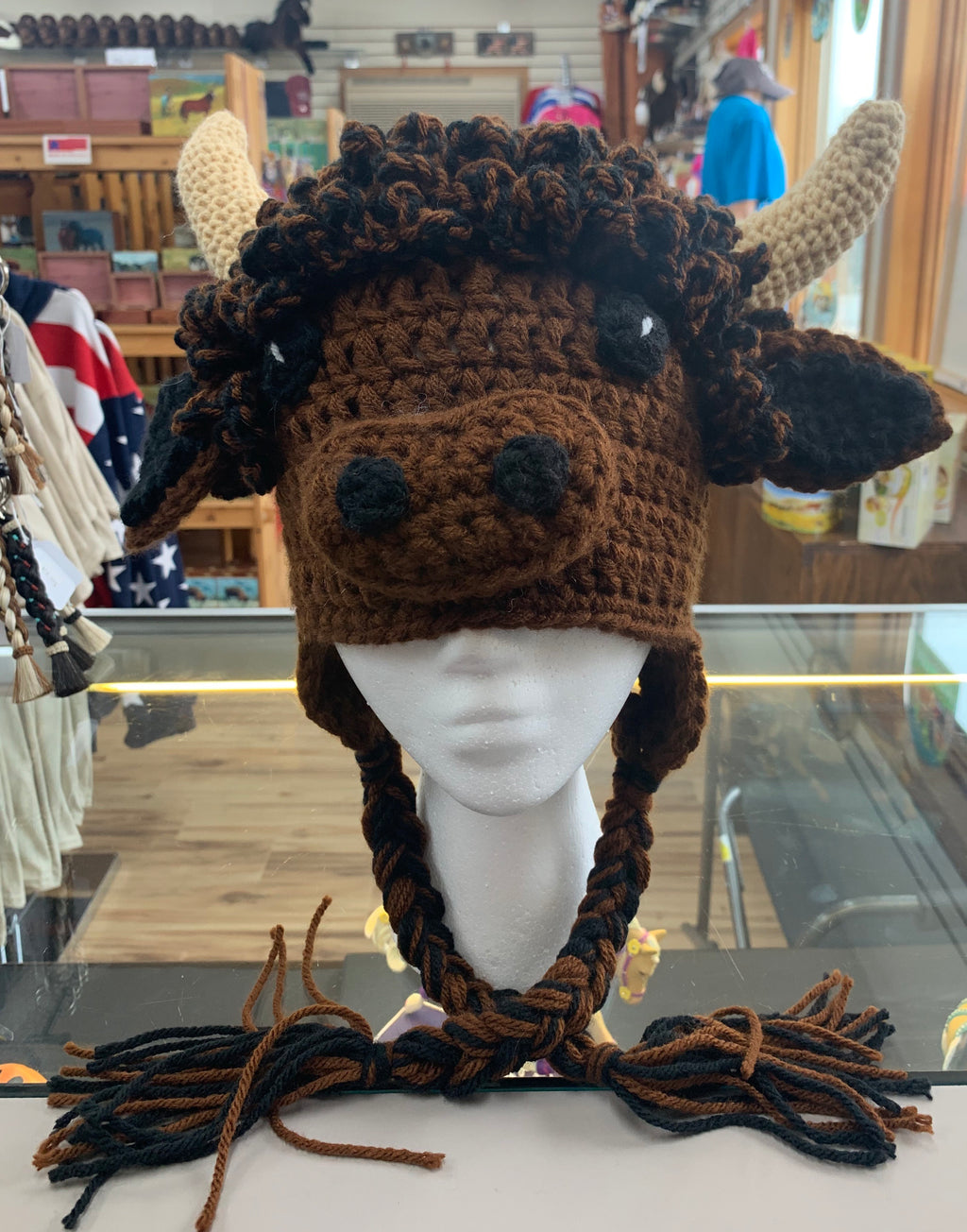 Crocheted Bison Hat