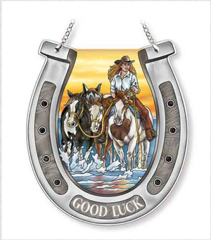 Sunrise Cowgirl Horse Shoe Sun Catcher