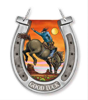 Sunset Cowboy Horse Shoe Sun Catcher