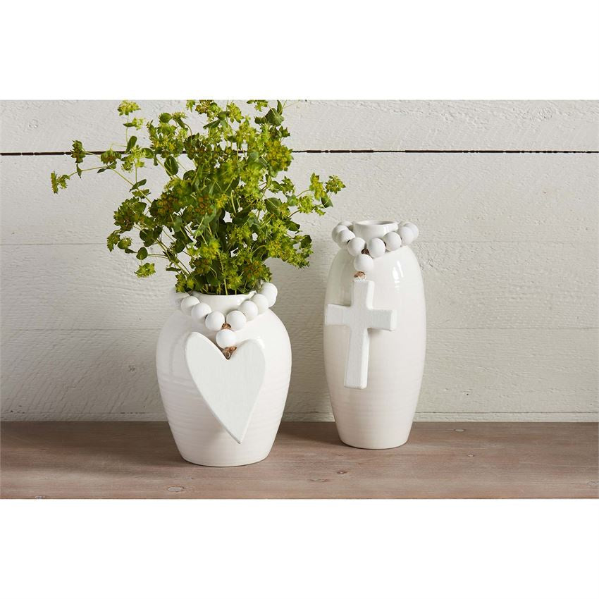 Beaded Stoneware Vases