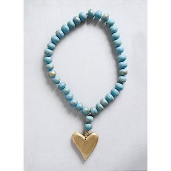 Wood Bead Strand w/ Heart Pendant - Perfectly Posh Boutique