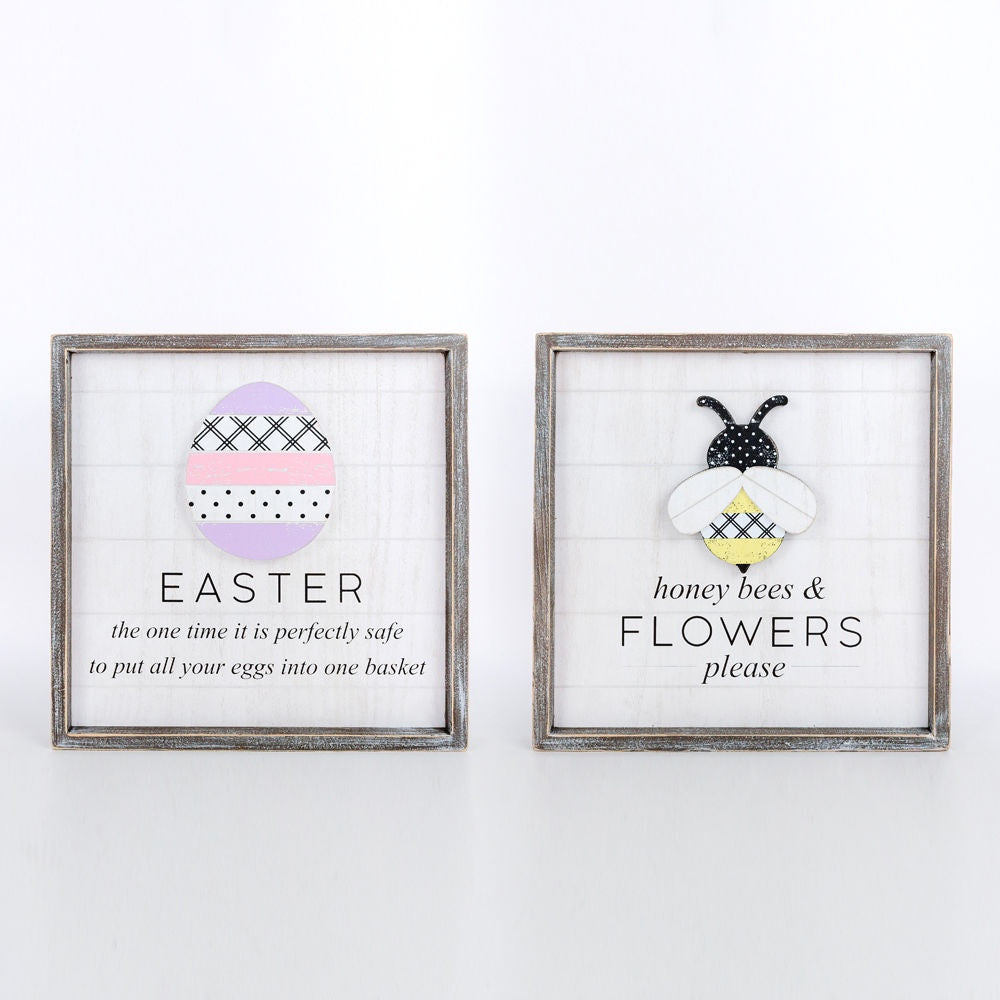 14x14x1.5 Reversible Sign Flowers & Eggs