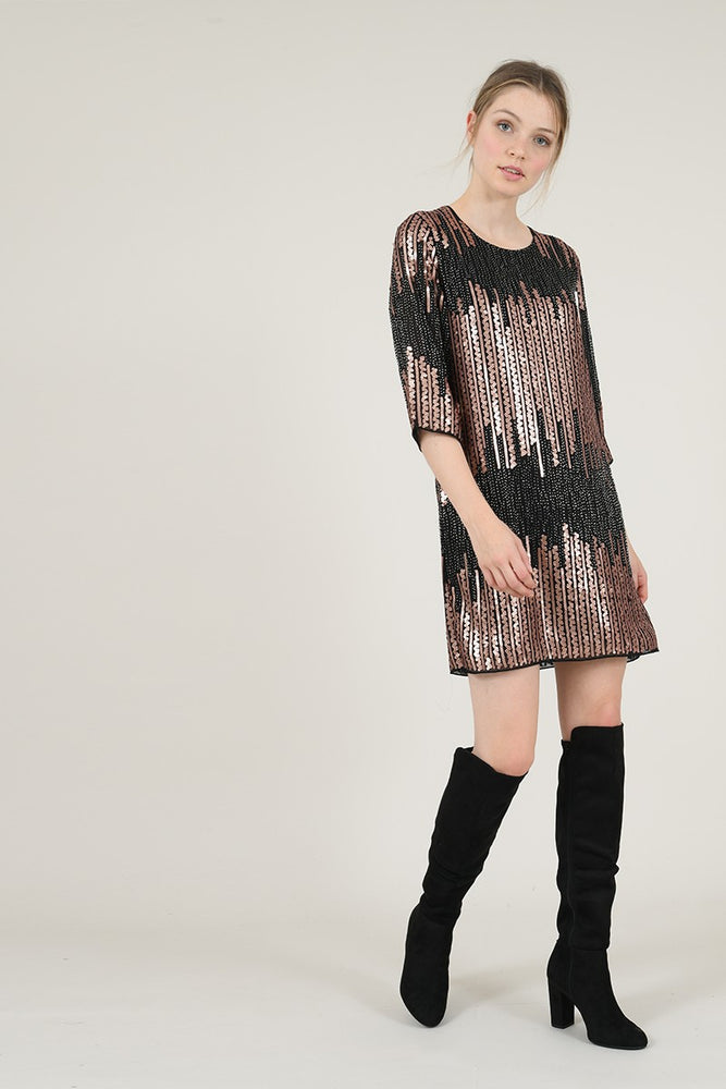 Sequined Shift Dress - Perfectly Posh Boutique