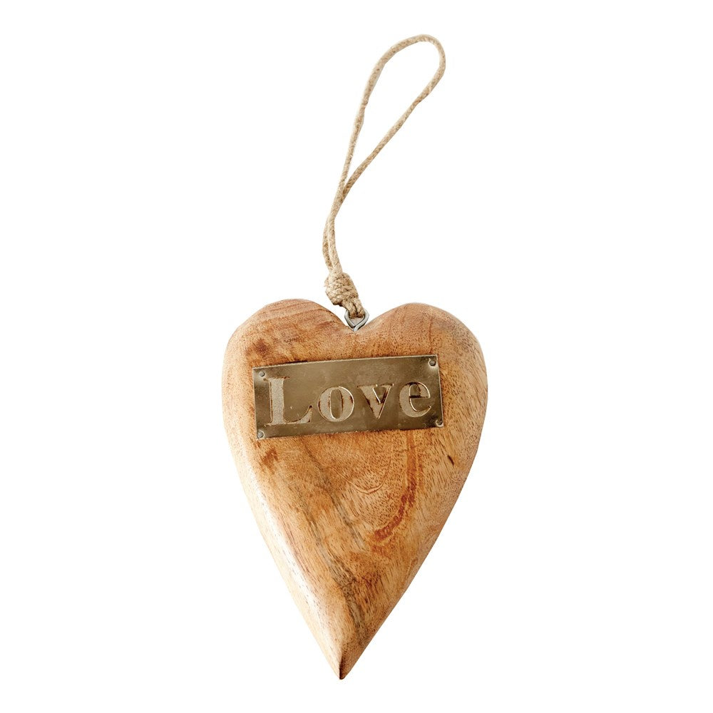 "8""H Mango Wood Hanging Heart w/ Metal ""Love"" - Perfectly Posh Boutique"