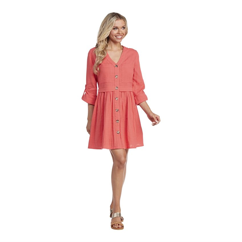 Addison Button Down Dress - Coral - Perfectly Posh Boutique