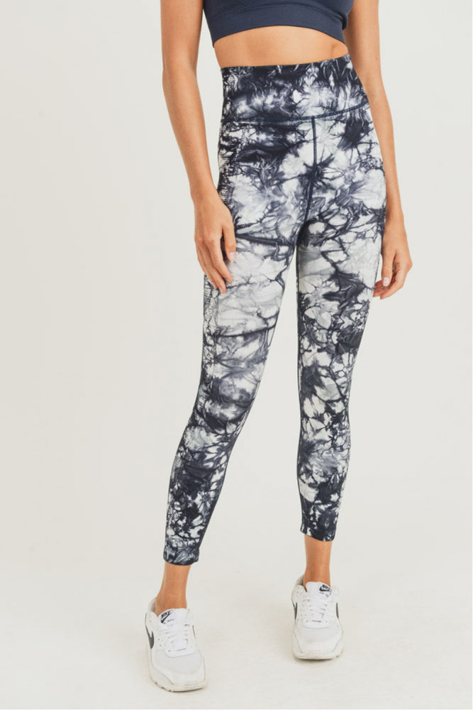 Ribbed Tie-Dyed Highwaist Seamless Leggings - Perfectly Posh Boutique