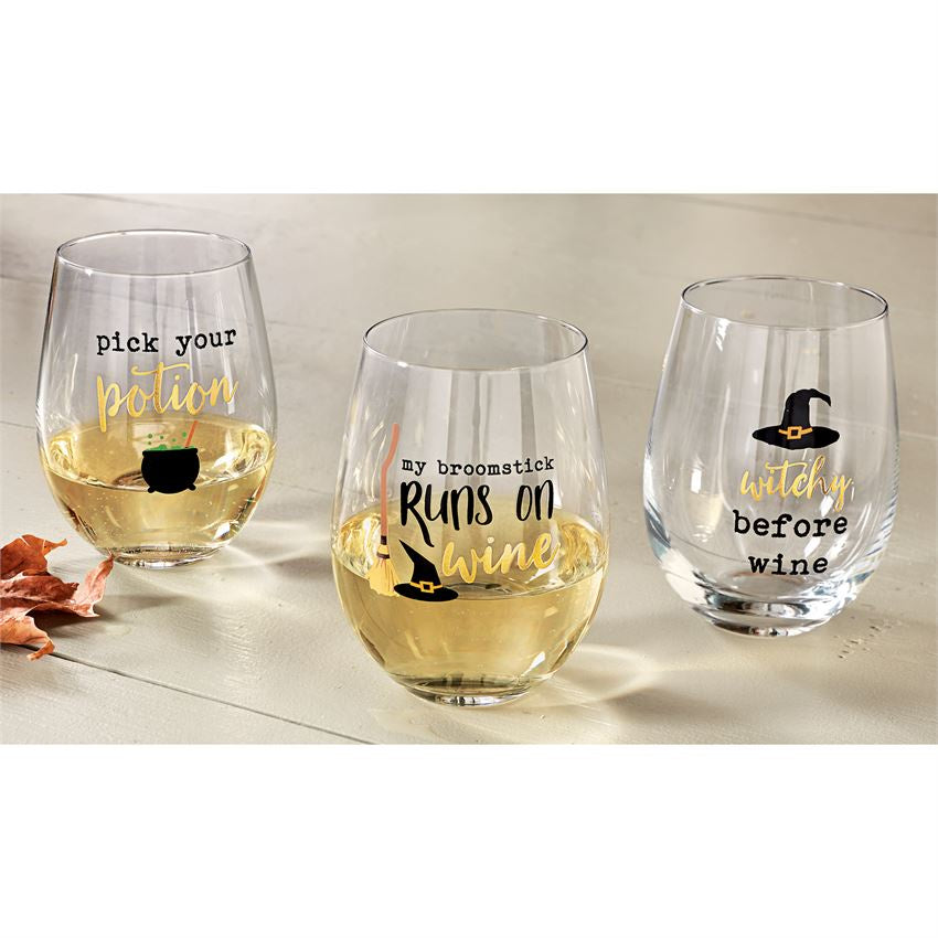 Stemless Halloween wine glass - Perfectly Posh Boutique