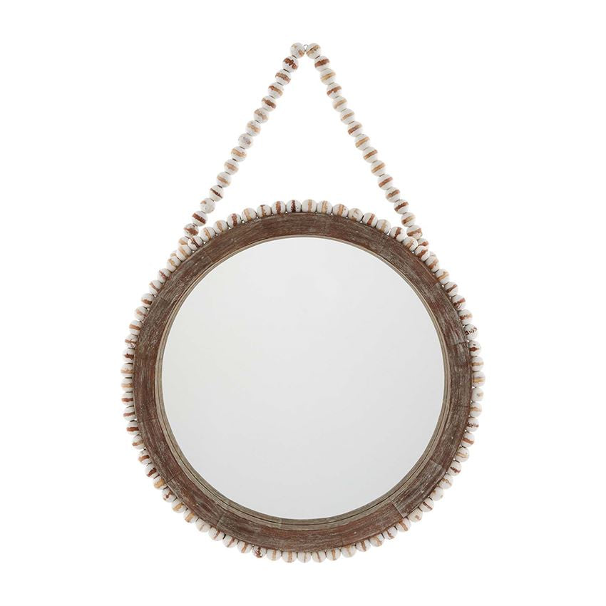 Large Beaded Hanging Mirror