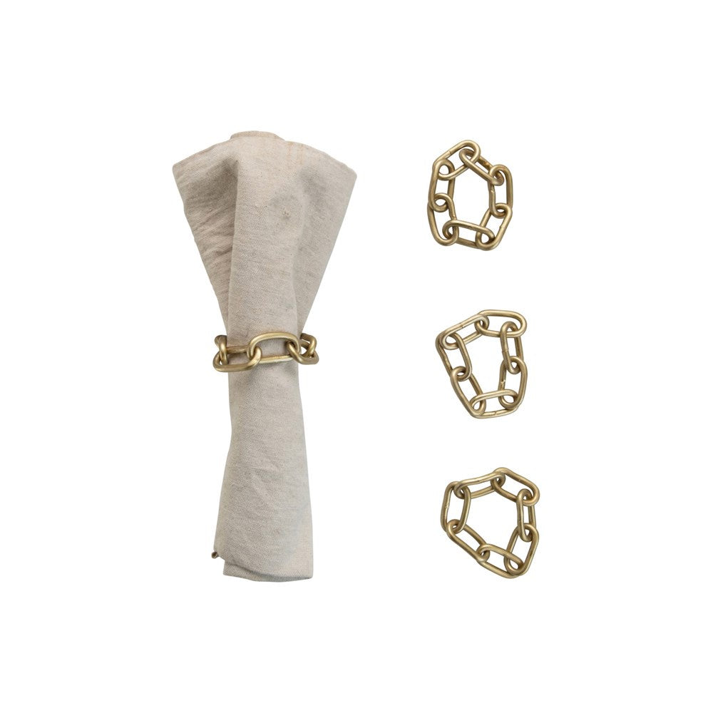 "3.25"" Round Metal Chain Napkin Rings with Leather Tie, Brass Finish, Set of 4"