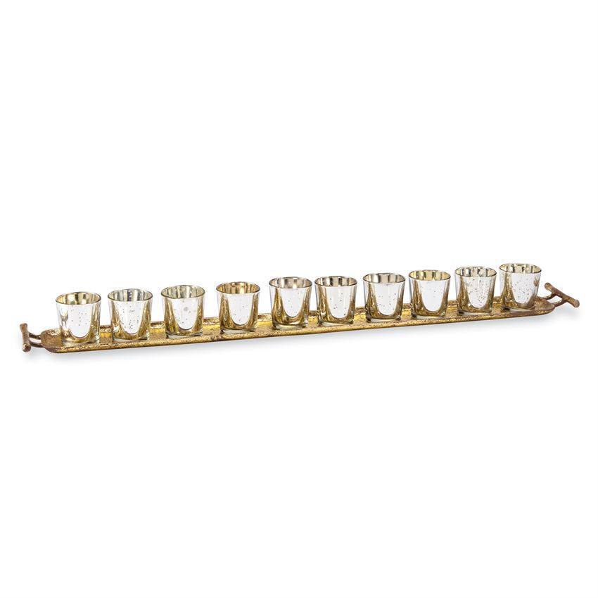 GOLD & SILVER VOTIVE LONG TRAY - Perfectly Posh Boutique