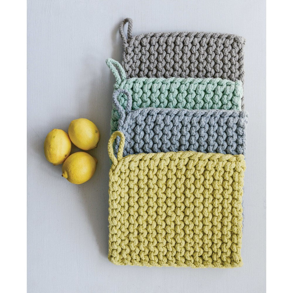 "8"" Square Cotton Crocheted Pot Holder- Blues"