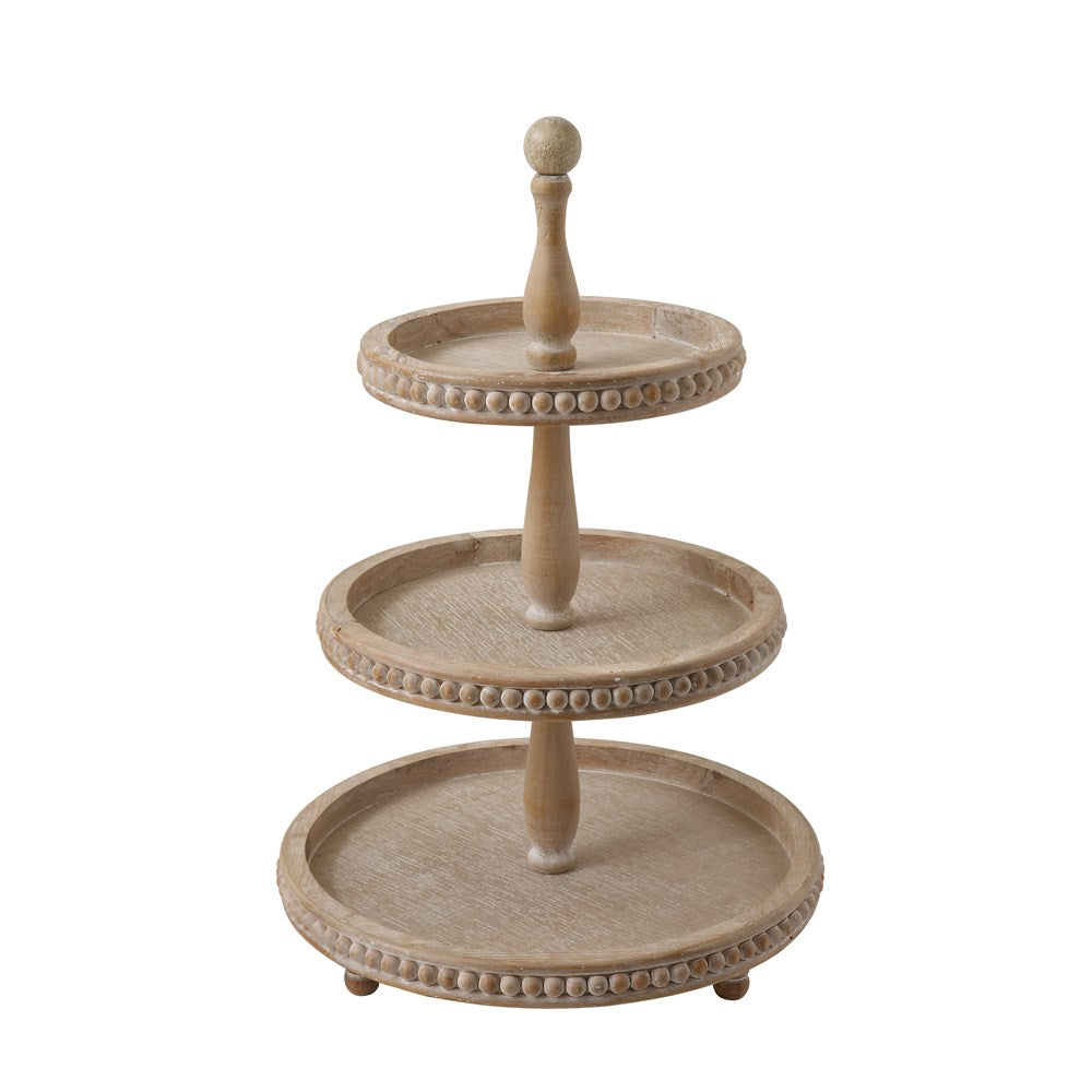 "16-1/4"" Round x 24-3/4""H Decorative Wood 3-Tier Tray"