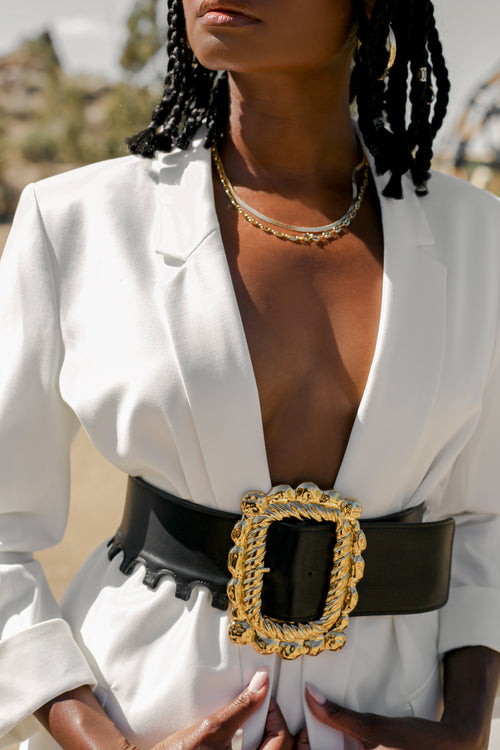 CLEO OVERSIZED GOLD BUCKLE BELT