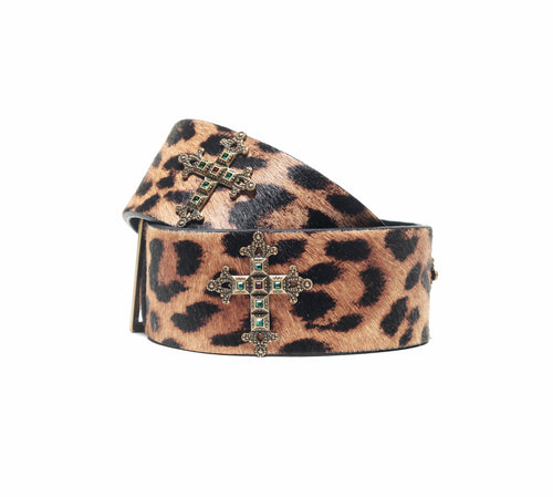 ROMA BELT IN LEOPARD PRINT CALF-HAIR