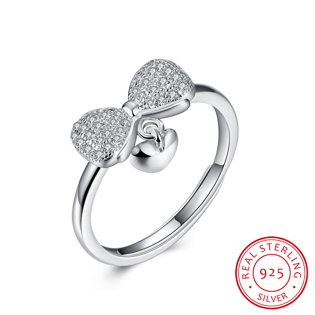 Sterling Silver Ring Bow knot open ring