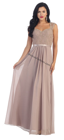 Sleeveless Lace Applique Pleaded Chiffon Dress- LAMQ1287