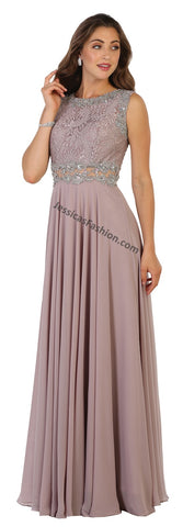 Sleeveless Lace & Rhinestone Pleated Chiffon Dress- MQ1520
