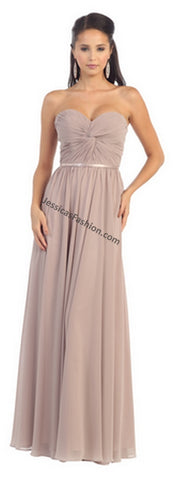 Strapless Pleated Chiffon Bridesmaid PLUS Size Dress- LAMQ1145