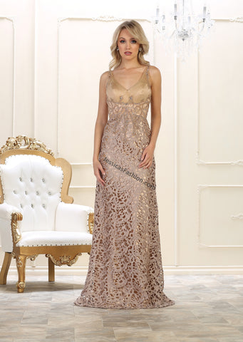 Shoulder Straps Sequins & Lace Dress- RQ7470