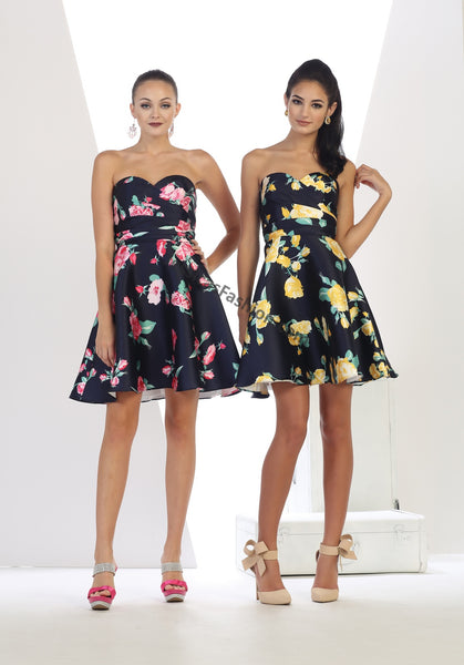 Strapless Floral Satin Print Short Dress- LAMQ1404