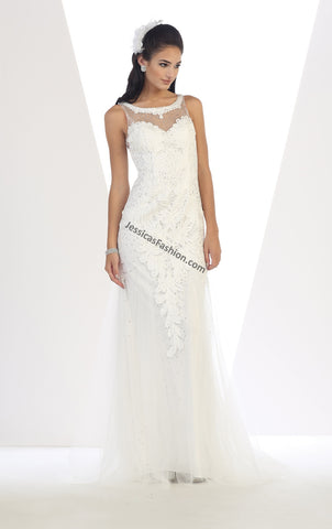 Sleeveless lace & rhinestone mesh bridal gown- LAMQ1402B