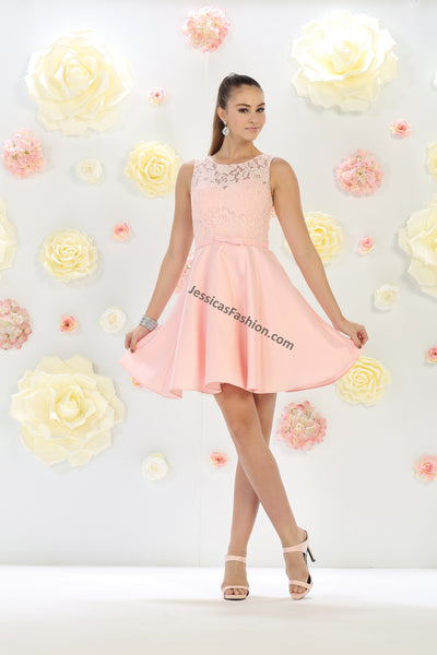 Sleeveless Lace & Satin Short Dress- LAMQ1422