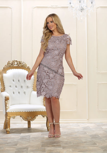 Short Sleeve Lace Short Mother Of Bride Dress- MQ1488