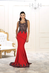 Cap Sleeve Lace Applique & Rhinestone Ity Dress- LARQ7501