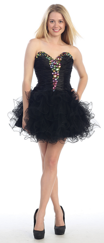 Strapless Rhinestone Posh Short Mesh Dress- LAMQ936