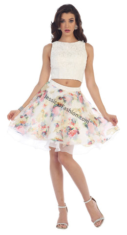 Sleeveless pearls top & floral short skirt- LAMQ1491