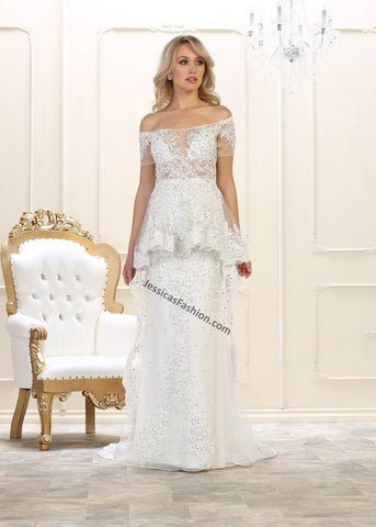 Off Shoulders Embroiderer & Rhinestones Long Mesh Bridal Dress- LARQ7620B