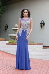 Sleeveless Lace Applique Sequins Ity Dress- RQ7318