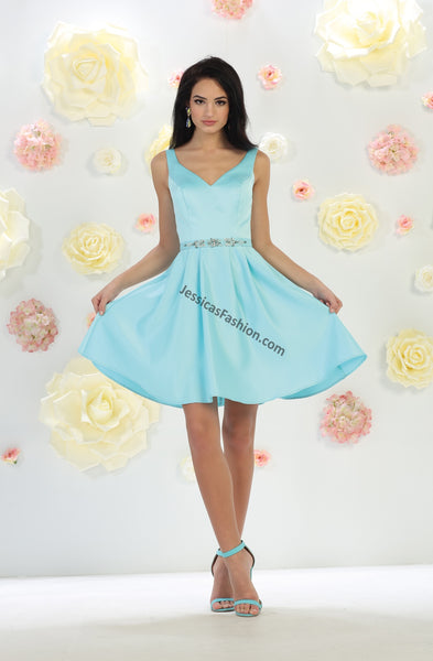 Shoulder Straps Short Satin Dress- LAMQ1477