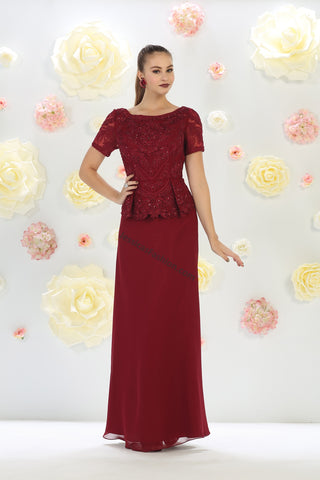 Short Sleeve Embroidere & Rhinestones Chiffon Dress- LAMQ1427