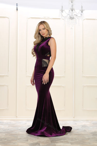Sleeveless Lace Full Length Velvet Dress- LARQ7531