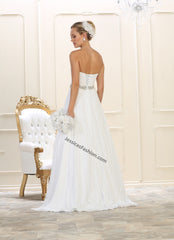 Strapless rhinestones mesh long wedding gown- LARQ7631