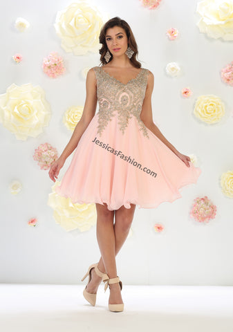 Metallic Lace Applique & Rhinestones Short Mesh Dress- LAMQ1417