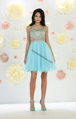 Sleeveless Metallic Lace Applique & Rhinestone Short Mesh Dress- LAMQ1462