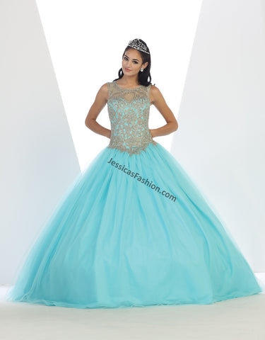 Sleeveless Lace Appliques & Sequins Mesh Quinceanera Dress- LALK72