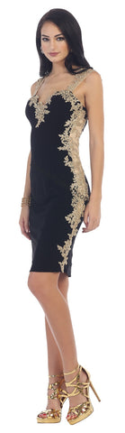 Sleeveless Metallic Lace Applique & Rhinestone Short Ity Dress- LAMQ1472