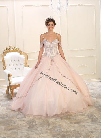 Off Shoulders Rhinestones Mesh Quinceanera Dress- LALK95