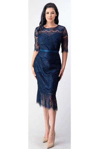 3/4 Sleeve Lace Cocktail Dress - LAMG9106GA - NAVY BLUE / L