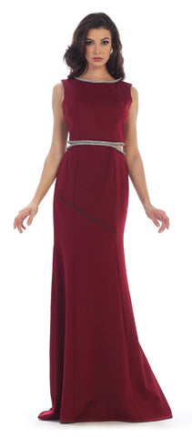 Sleeveless Sequins Low Back Satin Dress- LAMQ1468