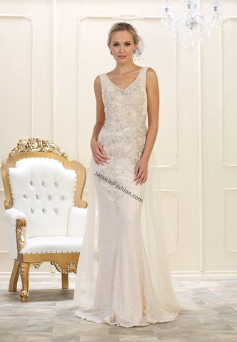 Sleeveless Lace Applique & Rhinestone Long Mesh Bridal Dress- LARQ7563B