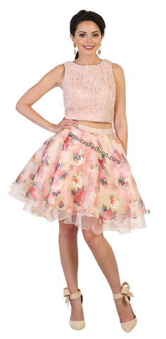 Sleeveless pearls top & floral short skirt- MQ1491