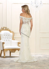 Off Shoulders Embroiderer & Rhinestones Long Mesh Bridal Dress- LARQ7621B