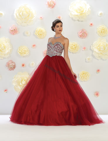 Strapless Rhinestone & Mesh Quinceanera Dress- LALK70