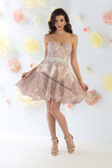 Strapless Lace Applique & Rhinestone Sassy Short Dress- LAMQ1461
